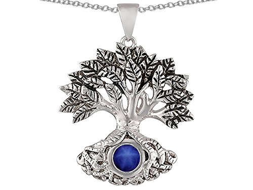 Star K Tree Of Life Good Luck Pendant Necklace 7mm Round Created Star Sapphire Sterling (Blue Sapphire Star Pendant)