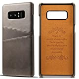 Galaxy Note 8 Cow Leather Case,Superstart Luxury Classical Soft Comfortable Slim Credit Card Slot Back Full Body Leather Wallet Case for Samsung Galaxy Note 8--Gray