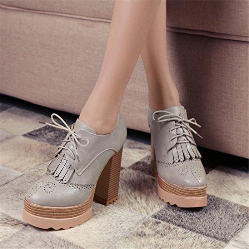 Zapatos DEDE y y Flecos Zapatos de Zapatos de Americana Zapatos Tacones Mujer Altos Mujer de Sandalette gray Zapatos con Europea n8pqxw4qgC