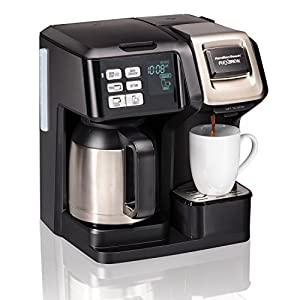 Hamilton Beach (49966) Coffee Maker with Thermal Carafe, Single Serve & Full Coffee Pot, For Use With K Cups or Ground Coffee, Programmable