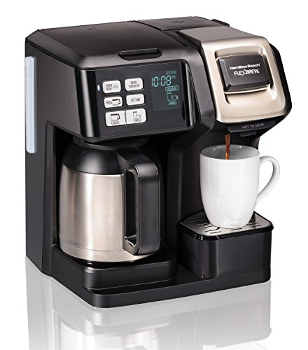 Hamilton Beach (49966) Coffee Maker with Thermal Carafe, Single Serve & Full Coffee Pot, For Use With K Cups or Ground Coffee, Programmable (Coffee Maker Thermal Pot)