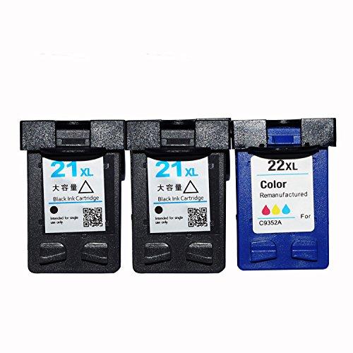 ouguan® de tinta compatibles HP 21XL y 22Cartuchos de tinta XL (2Negro, 1Tri-color, 3unidades)