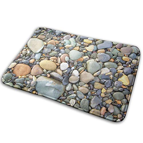 Homlife Rectangle Thin Doormats Pebble Stone Pattern Art Entrance Mat Non-Slip Indoor Outdoor Area Rug Bathroom Mats Coral Fleece Home Decor