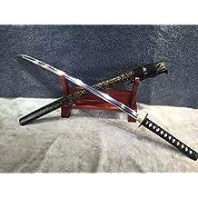 "Samurai sword/katana/T10 high carbon steel blade/Solid wood Scabbard/Carved brass tusba/Length 39"""