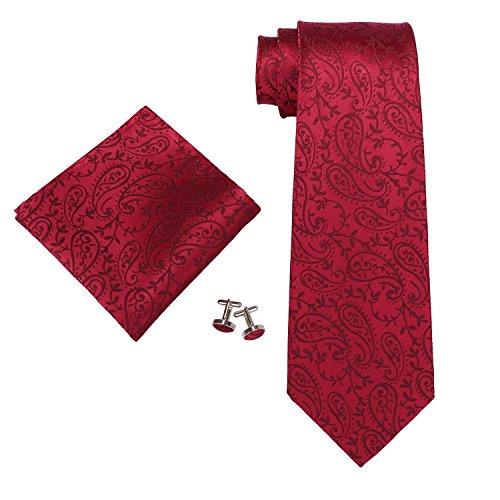 """Landisun SILK Paisley Mens SILK Tie Set: Necktie+Hanky+Cufflinks 546 Red, 3.25""""Wx59""""L"""
