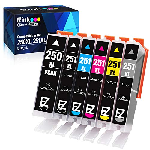 E-Z Ink (TM) Compatible Ink Cartridge Replacement for Canon PGI-250XL PGI 250 XL CLI-251XL CLI 251 XL to use with Pixma IP8720 (1 Large Black, 1 Cyan, 1 Magenta, 1 Yellow, 1 Small Black,1 Gray) 6 pack