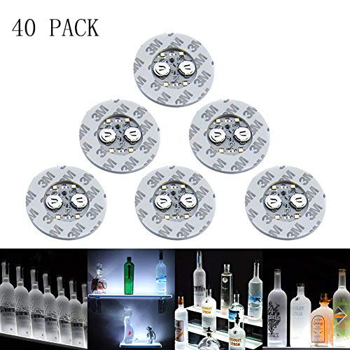 LED Sticker Coaster Discs Lights - Wine Liquor Bottle Clear Glass Cup Coaster,Halloween Party, Wedding, Bar, Party Decoration 40 Pack