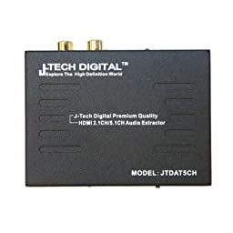 J-Tech Digital Premium Quality 1080P HDMI To HDMI + Audio (SPDIF + RCA Stereo) Audio Extractor Converter (Support Apple TV 4 Gen)