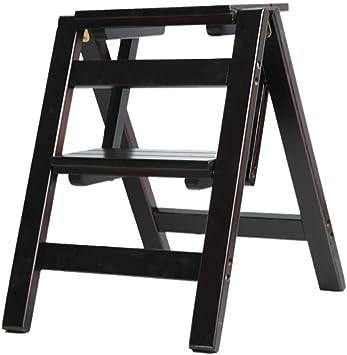 cvuh Ladder-Rack- Taburete plegable de 2 peldaños Taburete multifunción Escalera de peldaño de doble uso Escalera doméstica Escalera de madera maciza,Negro: Amazon.es: Bricolaje y herramientas