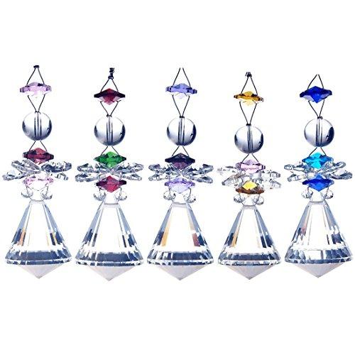 Hdecor Clear Crystal Diamond Shape Chandelier Drops Hanging Prism Angel Suncatcher (5pcs)