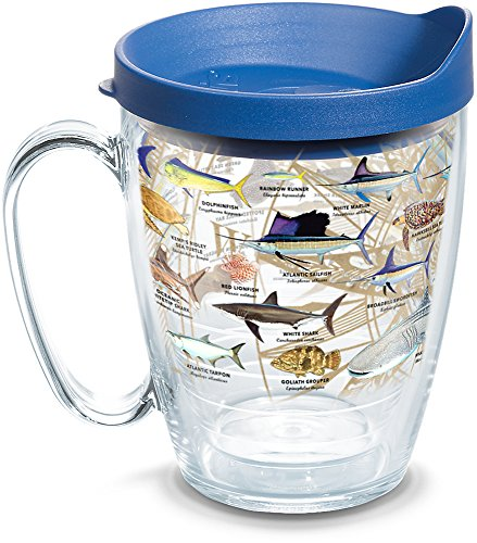 Tervis 1292236 Guy Harvey - Charts Insulated Tumbler with Wrap and Blue Lid, 16oz Mug, Clear
