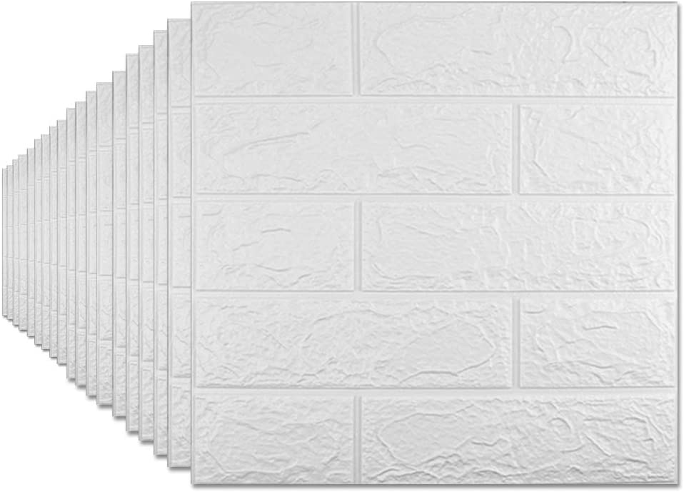 Sodeno 20 Pack 3D Wallpaper, 3D Brick Wall Panels with Self-Adhesive Waterproof Brick PE Foam Wall Tiles Papers for Interior Wall Decor, TV Wall,Bathroom, Kitchen, Living Room Home Decoration - White