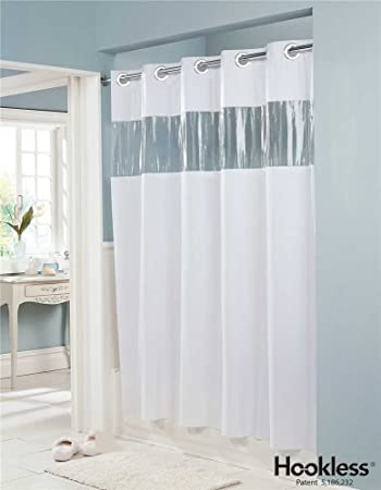 vision vinyl shower curtain hookless white with clear top