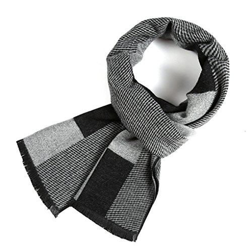 Scarf for Men Cashmere - Long Mens Scarf Cashmere Feel Spring Summer Winter Mens Scarfs Fashion Shawls Color Grey by gugugaga (Image #2)