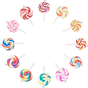 NBEADS 50 Pcs Colorful Lollipop Shape Polymer Clay Charm Pendants, RANDOM MIXED Handmade Polymer Clay Big Pendant Link Charms Food Candy Slime Beads for Phone Straps Key Bag Decor DIY Jewelry Making