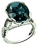 RB Gems Sterling Silver 925 Ring GENUINE GEMSTONE Oval 16x12 mm, RHODIUM-PLATED Finish, Knot Style (7, london-blue-topaz)
