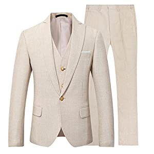 Mens 3 Piece Linen Suit Set Blazer Jacket Tux Vest Suit Pants
