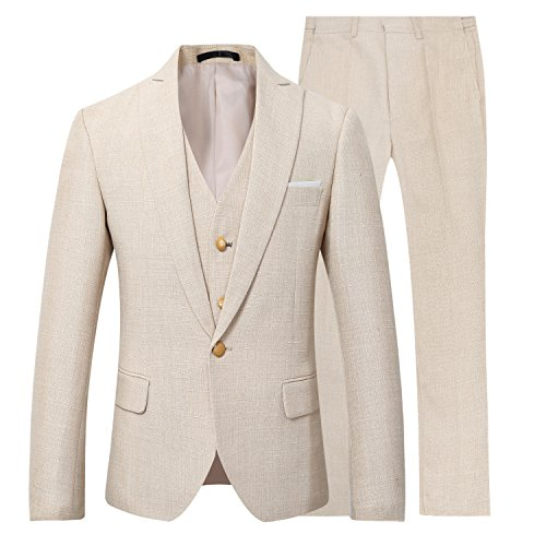 Mens 3 Piece Linen Suit Set Blazer Jacket Tux Vest Suit ()