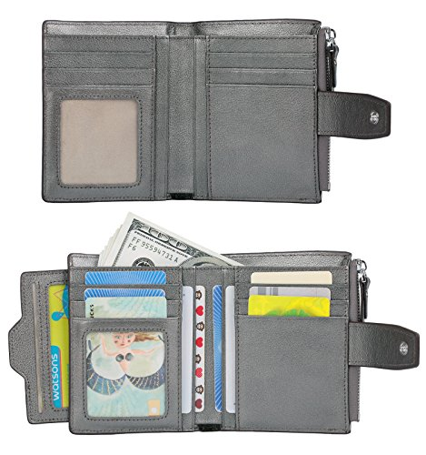 Women's Blocking Bi Ainimoer With Small Card Natural Compact Case Gray Window Leather Zipper fold Wallet Pocket Rfid Id Purse wdE6nYxqpE