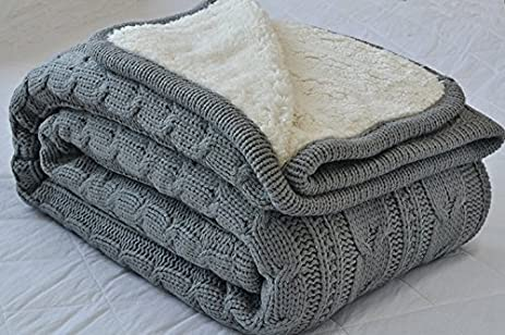 Amazon.com: Luxury All Season Soft Cable Sweater Knitting Throw ... : quilt throw blanket - Adamdwight.com