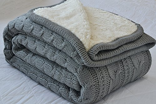 Luxury All Season Soft Cable Sweater Knitting Throw Blanket Quilt Throw with Sherpa Lining for Bed Sofa Couch Decor Gray 51x63 Inch (Cable Throw Blanket)