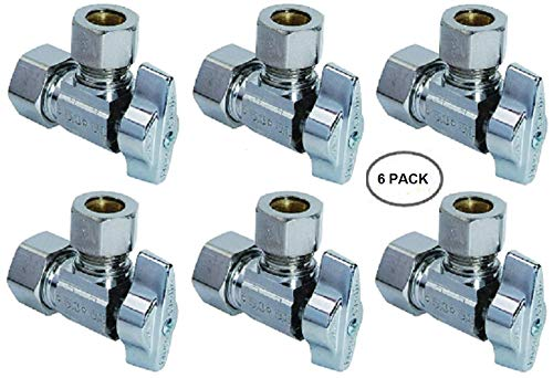 Compression Valve G2CR19L1X 1/2-in Nominal Comp x 3/8-in OD Outlet Chrome Plated Brass 1/4-Turn Angle Stop Valve with Outlet Sleeve/Nut - 100% Satisfaction Guarantee (6 Pack)