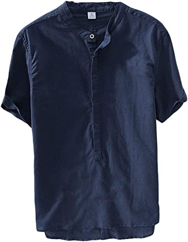 Hombre Camisa Casual Lino con Cuello Mao Manga Corta Camiseta ...