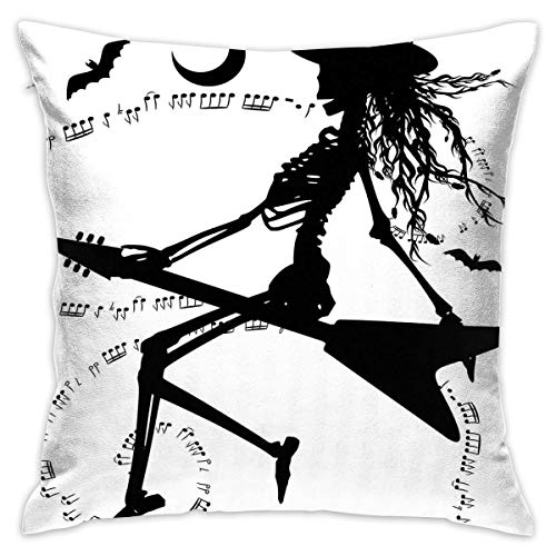 VANMASS Music Witch Flying On Electric Guitar Notes Bat Magical Halloween Artistic Illustration Full Black White Chair Throw Pillow Case Cushion Cover 18