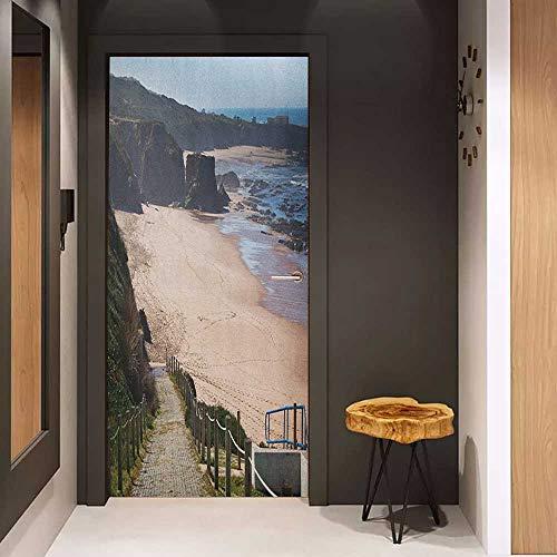 Onefzc Door Wall Sticker Beach Western Portugal Ocean Coastline at Low Tide Vignettes Shot Canyons Wild Neat Scenery Mural Wallpaper W30 x H80 Multicolor