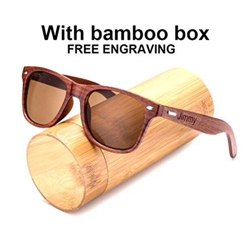 Awerise Personalized Walnut Wood Wooden Sunglasses UV400 Groomsmen Gifts (Sunglasses with bamboo box, Non mirrored - Wayfarer Sunglasses Personalized