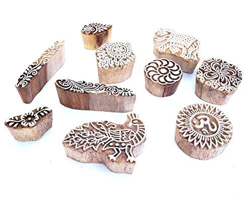 Kala Emporium Set of 10 Design Wooden Printing Stamp Block Hand-Carved for Saree Border Making Pottery Crafts Mehandi Printing Wood Stamp Set (Lot #4)