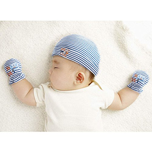 Lictin Newborn Baby Cotton Cap Mitten - 100% Cotton 4pcs Baby Cotton Caps Hats and 4 Pairs Baby Scratch Mitten Gloves for Baby Boy(0-6 Months) (Blue) by Lictin (Image #5)