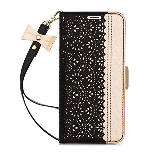 Galaxy S9 Plus Case,Galaxy S9 Plus Wallet Case, WWW [Luxurious Romantic Carved Flower] Leather Wallet Case with [Inside Makeup Mirror] and [Kickstand Feature] for Samsung Galaxy S9 Plus Black