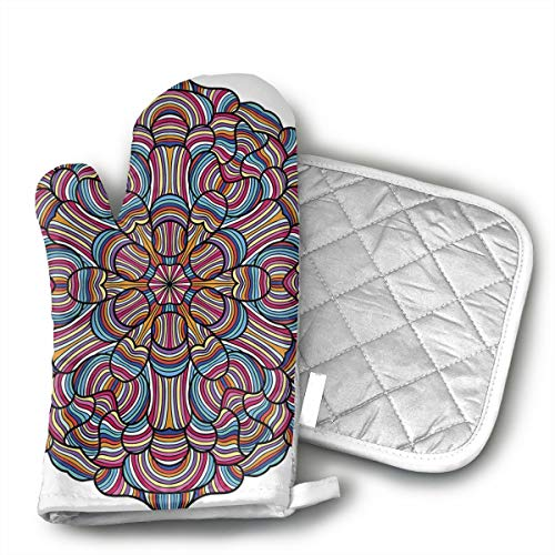 QEDGC Optical Illusion Mandala Flower Oven Mitts Cooking Gloves Heat Resistant, for Kitchen Oven BBQ Grill and Fire Pits for Cooking Baking, (Fire Pit Flower)