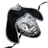 Full Face Silver & Black Pirate Mask Venetian Masquerade Mask Event Party Ball Mardi Gars Halloween