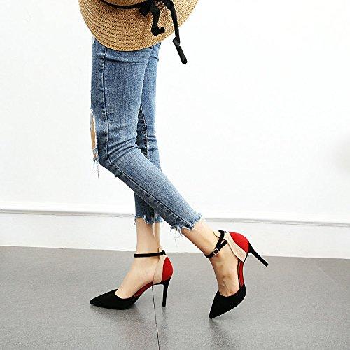 Estilete Alto Que Lateral Espacio Ante los Elegantes del Temperamento del YMFIE del B el Acentuó talón del La emparejaba del Zapatos Color Sra FwPq0Uw7