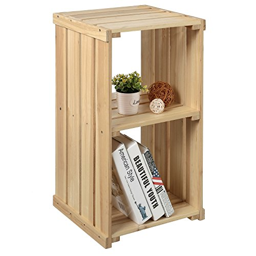 MyGift 26-Inch Natural Wood Crate Design 2-Bin Storage Cubby, Decorative End Table