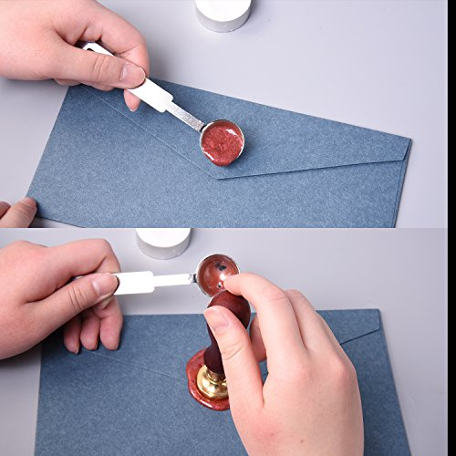 eBoot 140 Pieces Star Shape Sealing Wax Beads with 1 Piece Wax Melting Spoon and 2 Pieces Candles (9 Colors)