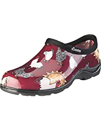 Women's Waterproof Rain and Garden Shoe with Comfort Insole, Chickens Barn Red, Size 9, Style 5116CBR09