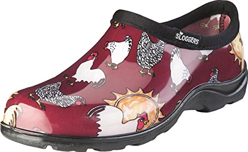 Sloggers Women's Waterproof  Rain and Garden Shoe with Comfort Insole, Chickens Barn Red, Size 9, Style 5116CBR09 from Sloggers
