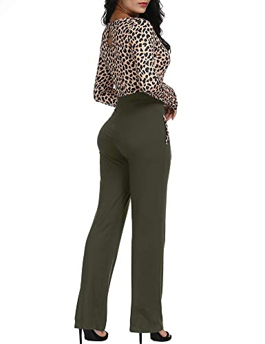 4c4e796c4aa8 Amazon.com  Zaoqee Women s Long Sleeve V Neck Leopard Print Jumpsuit High  Waist Romper  Clothing