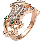 BOHG Jewelry Womens 18K Rose Gold Plated Animal Frog Crystal Fashion Love Couples Ring Wedding Band Green