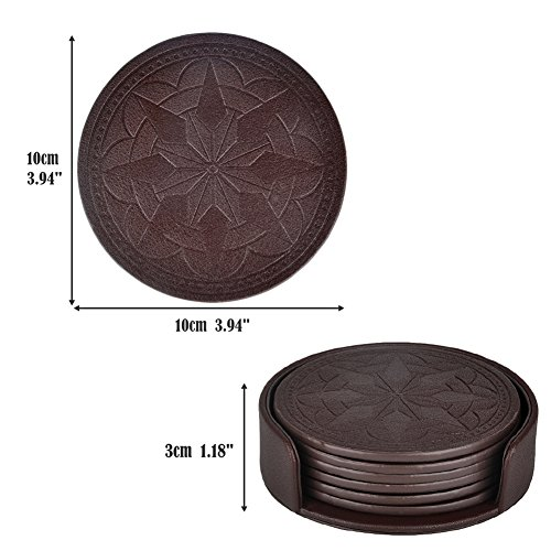 Large Product Image of Coasters,PU Leather Coasters for Drinks Set of 6 with Holder-Protect Your Furniture from Stains by 365park,Coffee