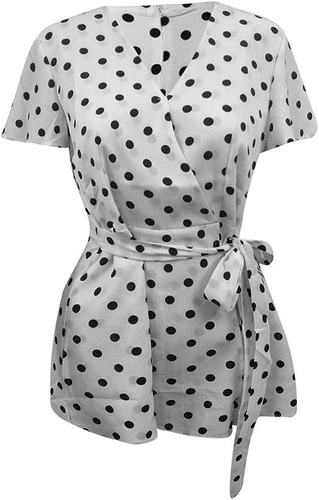 Womens Rompers Cute V-Neck Elastic Short Sleeve Dot Print Mini Dress Summer Beach Jumpsuit