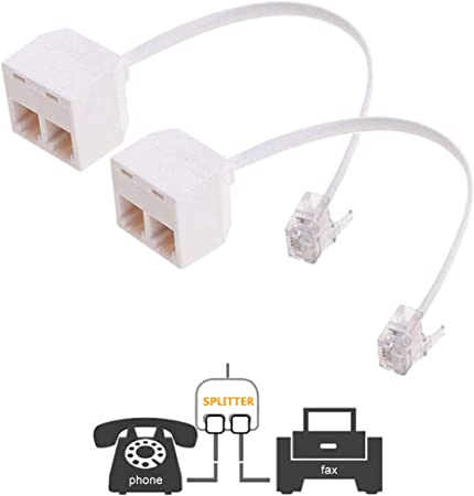 2-WAY RJ11 Splitter Female To Female Telephone Line Adapter with Cable Black, 2-PACK
