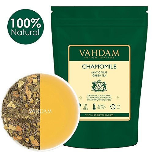 Chamomile Mint Green Tea Loose Leaf (100 Cups) | REFRESHING & ENERGIZING Mint Tea | Green Tea Leaves, Chamomile, Peppermint, Spearmint, Orange Peels, Lemongrass | Brew Hot or Iced | 3.53oz (Set of 2)