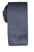 Knit Tie by Paul Malone . Square Tipping . Dark Grey