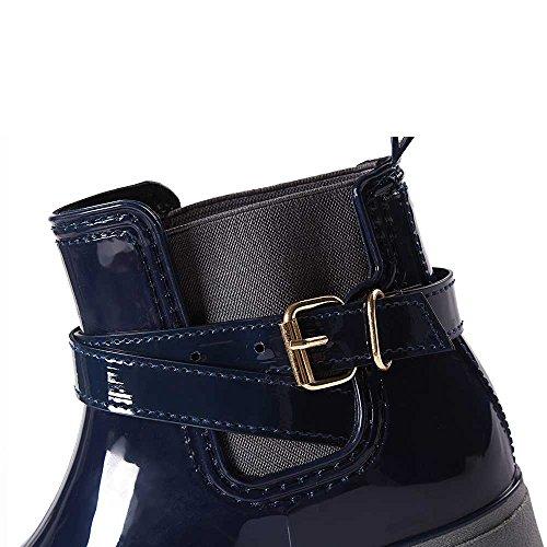 Stivali Stivaletti Boot Impermeabili Pioggia Antiscivolo Scarpe Chelsea Donna da blu Moda in Rain 02 Bassi Gomma Caviglia SUADEEX pFUnxWS