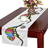 InterestPrint Cute Colorful Chameleon Animal Table Runner Cotton Linen Home Decor for Wedding Party Banquet Decoration 16 x 72 inches