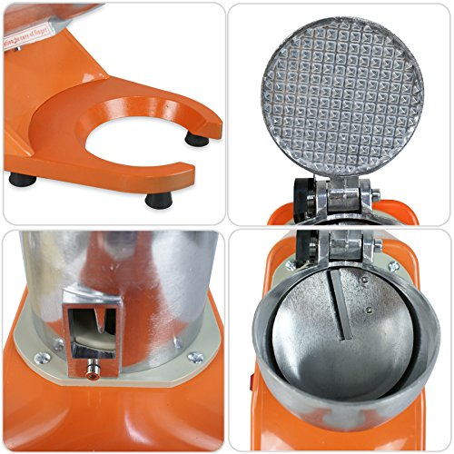 ZENY Ice Shaver Machine Electric Snow Cone Maker Stainless Steel Shaved Ice Machine 145lbs Per Hour (Orange) by ZENY (Image #5)